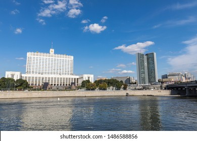 Moscow, Russia - August 23, 2019. House of the Government of Russian Federation (White House). Russian Government House. Famous state building against blue sky.