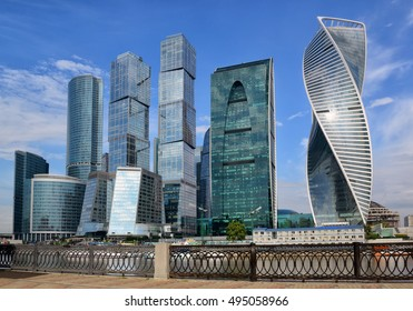 MOSCOW, RUSSIA - AUGUST 24, 2016: View of the Moscow International Business Center (Moscow City) from the opposite bank of the Moskva River