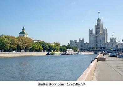 Moscow, Russia - August 24, 2018: Summer view of Raushskaya and Moskvoretskaya embankments and high-rise building on Kotelnicheskaya embankment