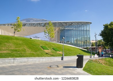 """Moscow, Russia - August 24, 2018: Concert hall of the Philharmonic in the natural-landscape Park """"Zaryadye"""""""