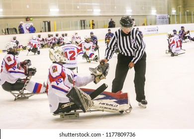Moscow - Russia. August 24th 2018. For the first time Moscow it was held the para ice hockey tournament: Cup Of Courage. These are the teams who played: Udmurtia - Republic of Udmurt Hawks - Orenburg