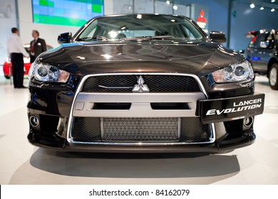 MOSCOW, RUSSIA - AUGUST 25:  Black car Mitsubishi  Lancer Evolution at Moscow International exhibition InterAuto on August 25, 2010 in Moscow, Russia.