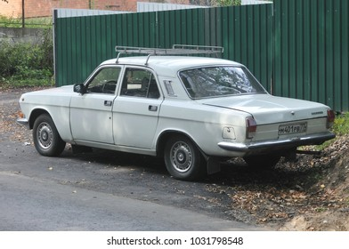 "MOSCOW, RUSSIA - August 26, 2011: Old Russian car GAZ-24-10 ""Volga"" is in the Parking lot near the stree"