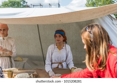 Moscow, Russia - August, 26, 2017: times and epochs festival in Kolomenskoye park, reconstruction of historical events from the past