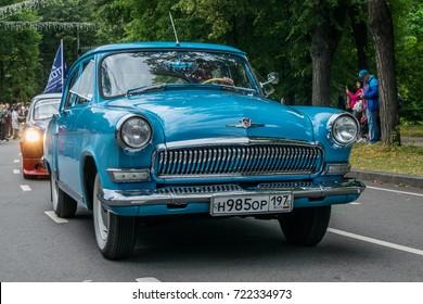 MOSCOW, RUSSIA - AUGUST 26, 2017: Parade of retro cars at Retro Festival. Car Gaz-21 Volga