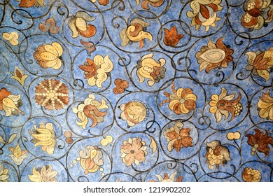 MOSCOW, RUSSIA - August 27, 2011 St. Basil's Floral Ornaments in Blue Background,17th century frescoes with rich floral ornamentation in a gallery of St. Basil's cathedral.