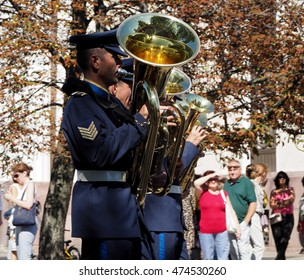 """MOSCOW, RUSSIA - August 27, 2016: Tuba rank in brass band of Greece. Festival of military orchestras """"Spasskaya Tower"""". Central Avenue in the Park of VDNH, Moscow."""