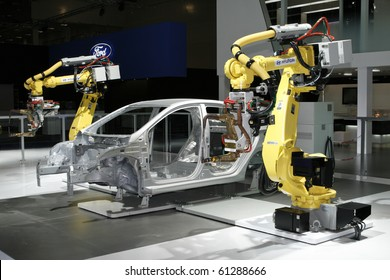 MOSCOW, RUSSIA - AUGUST 27: Hyundai Industrial robots for welding & handling presented at the Moscow International Autosalon on August 27, 2010 in Moscow.