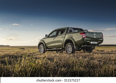 MOSCOW, RUSSIA, AUGUST 27: Mitsubishi Motors launched all-new Mitsubishi L200 in Russia. Front view Mitsubishi L200 on the field