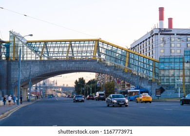 Moscow, Russia - August, 28, 2018: traffic on berezhkovskaya embankment in Moscow