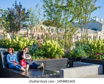 """MOSCOW, RUSSIA - AUGUST 28, 2019: The """"Flower Jam"""" Festival and Open International Competition of Urban Landscape Design in Moscow."""