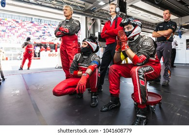 Moscow, Russia - August 29, 2015: Racing Mechanics of Audi Sport Team Rosberg at DTM stage at Moscow Raceway