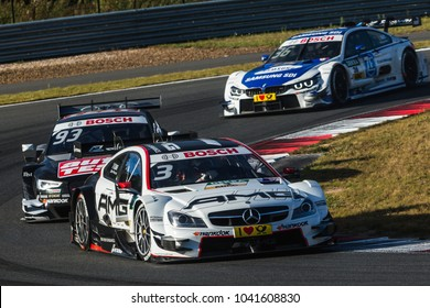 Moscow, Russia - August 29, 2015: Paul Di Resta driver of Mercedes-AMG DTM Team HWA at DTM race at Moscow Raceway