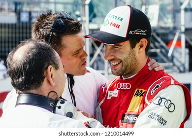 Moscow, Russia - August 29, 2015: Mike Rockenfeller driver of Audi Sport Team Phoenix at DTM stage at Moscow Raceway