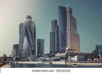 Moscow, Russia - August 29, 2016: Moscow city, international business Russian Center. Good weather. Construction buildings like a UAE, Arabic, USA style. Vintage, retro design photo, poster, image