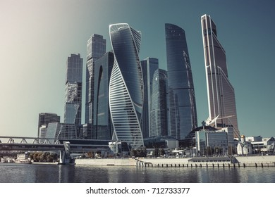 Moscow, Russia - August 29, 2016: Moscow city, close up panorama of international business center. Construction buildings like a UAE, Arabic, USA style. Vintage, retro design photo, poster, image