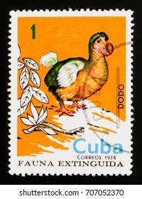 MOSCOW, RUSSIA - AUGUST 29, 2017: A stamp printed in Cuba shows Dodo (Raphus cucullatus), Extinct birds serie, circa 1974