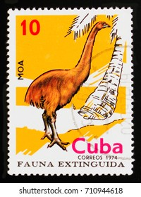 MOSCOW, RUSSIA - AUGUST 29, 2017: A stamp printed in Cuba shows North Island Giant Moa (Dinornis maximus), Extinct birds serie, circa 1974