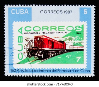 MOSCOW, RUSSIA - AUGUST 29, 2017: A stamp printed in Cuba shows Cuban stamps #2361, Cuban Railways - 150th anniversary, circa 1987