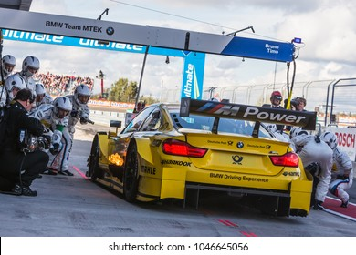 Moscow, Russia - August 30, 2015: Fire at pit stop BMW Team MTEK at DTM race at Moscow Raceway