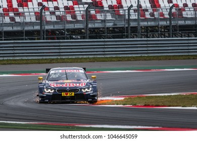 Moscow, Russia - August 30, 2015: Antonio Felix da Costa's BMW carved sparks at DTM race at Moscow Raceway