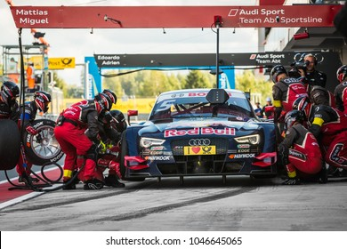 Moscow, Russia - August 30, 2015: Pit stop Audi Sport Team Abt Sportsline at DTM race at Moscow Raceway