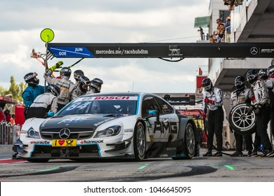Moscow, Russia - August 30, 2015: Pit stop Petronas Mercedes-AMG team at DTM race at Moscow Raceway