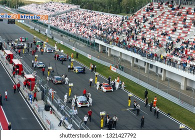 Moscow, Russia - August 30, 2015: Starting grid before DTM race at Moscow Raceway. Top view