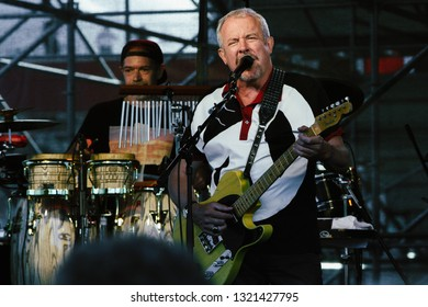 Moscow, Russia - August 30, 2015: Andrey Makarevich is a Soviet and Russian rock musician and the founder of Russia's oldest still active rock band Mashina Vremeni (Time Machine)