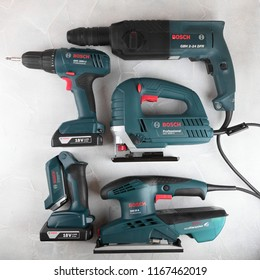 MOSCOW, RUSSIA, AUGUST 30, 2018. Power Tools Bosch Professional against the background of a plastered wall.