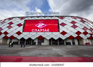 MOSCOW, RUSSIA - AUGUST 30: New stadium Otkrytie Arena opened in Moscow on 30 of august 2014. The new stadium is included in the Russia's bid for the 2018 FIFA World Cup.