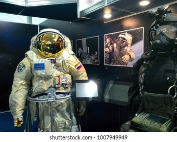 MOSCOW, RUSSIA - AUGUST 30:  Russian-made spacesuit after underwater for astronaut on august 30, 2013 at Russian  in Moscow, Russia