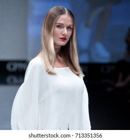 Moscow, Russia - August 31, 2017: CPM, International Fashion Trade Show, collections for spring-summer 2018, models at catwalk.