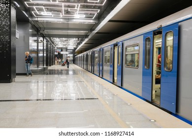 Moscow, Russia - August, 31, 2018: subway train on the station  Govorovo in Moscow, Russia