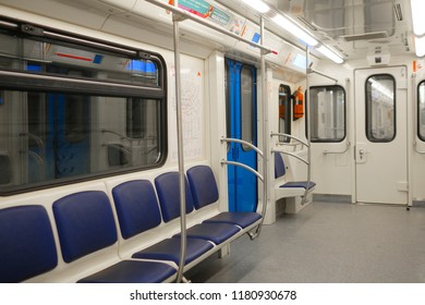 Moscow, Russia - August, 31, 2018: interior of a carrige of subway train in Moscow, Russia