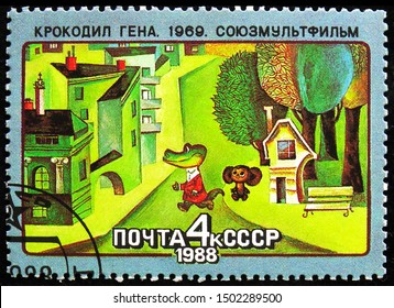 MOSCOW, RUSSIA - AUGUST 31, 2019: Postage stamp printed in Soviet Union (Russia) shows Crocodile Gena, Soviet Cartoon Films serie, circa 1988