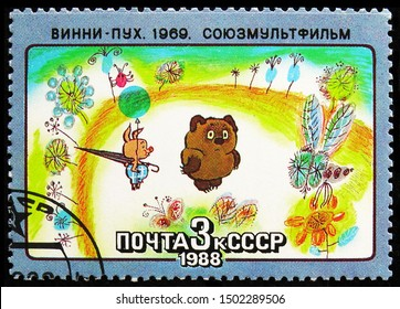 MOSCOW, RUSSIA - AUGUST 31, 2019: Postage stamp printed in Soviet Union (Russia) shows Winnie-Pooh, Soviet Cartoon Films serie, circa 1988