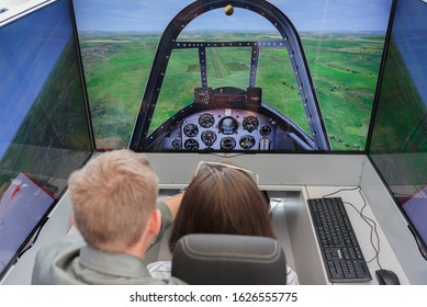 MOSCOW, RUSSIA - AUGUST 31, 2019: Learning to fly an airplane in a simulator