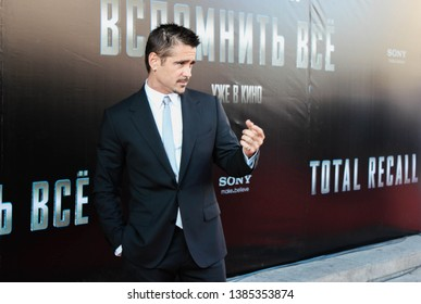 """Moscow, Russia - August 8, 2012: Colin Farrell at Total Recall Premiere at Cinema October red carpet, sign says """"Total Recall"""""""