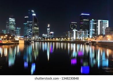 MOSCOW, RUSSIA - AUGUST 9, 2017: Night view of Moscow city skyline over the Moskva river.