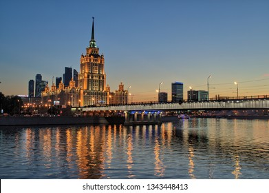 MOSCOW, RUSSIA - AUGUST 9, 2018: Novoarbatsky bridge and Hotel Ukraine (Radisson Royal Hotel) at the Moskva river.