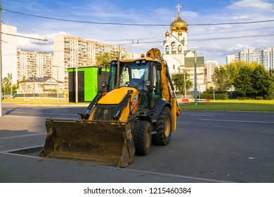 MOSCOW, RUSSIA, AUGUST,12 .2018: Widespread model of the universal backhoe loader of JCB Company (Great Britain).
