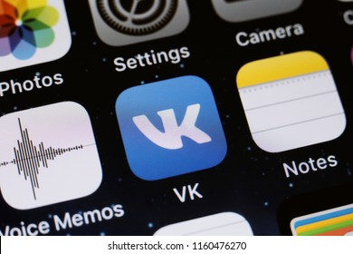 Moscow, Russia - August,20 2018 Vkontakte application is displayed on the screen of a smartphone