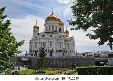 MOSCOW, RUSSIA - Christ the Redeemer Cathedral Framed by Trees in Summer It is the highest orthodox temple in the world.