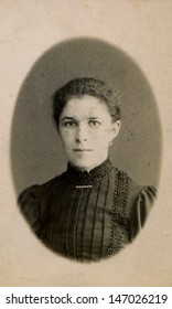 MOSCOW, RUSSIA, CIRCA 1897: Antique photo, portrait of a young woman, circa 1897