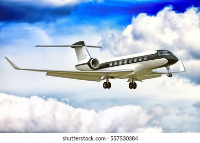 MOSCOW, RUSSIA - CIRCA 2016: Gulfstream G650 jet engine business corporate private executive luxury jet airplane in black white color flying with aircraft parts gear flaps extended aerial background