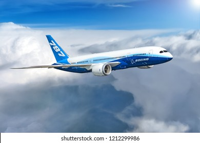 MOSCOW, RUSSIA - CIRCA APRIL, 2012: Boeing Company Boeing 787 Dreamliner twin jet engine passenger airplane flying across dramatic clouds sky illustration
