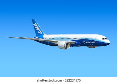 MOSCOW, RUSSIA - CIRCA APRIL, 2012: Boeing Company Boeing 787 Dreamliner twin jet engine passenger aircraft flying