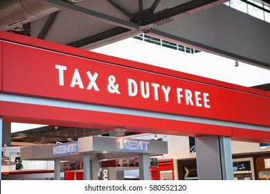 MOSCOW, RUSSIA - CIRCA APRIL, 2012: Tax and Duty free red signboard is over entrance of shop in Sheremetyevo airport terminal. The Sheremetyevo International is second biggest airport in Moscow