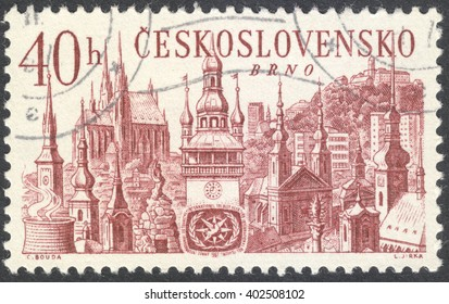 "MOSCOW, RUSSIA - CIRCA APRIL, 2016: a post stamp printed in CZECHOSLOVAKIA shows Spielberg castle and churches in Brno, the series ""International Tourist Year"", circa 1967"